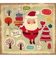 Scrapbook Arty Santa Claus vector image
