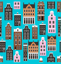 seamless pattern with amsterdam houses vector image
