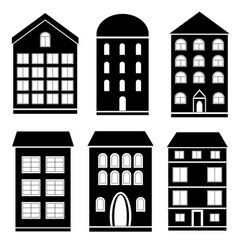 Set of black and white building vector