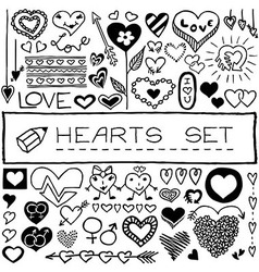 Set of doodle heart shaped icons vector image