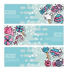 Set of horizontal banners about candy vector