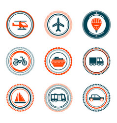set of vintage transportation stamps icons vector image vector image