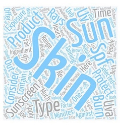 Skin types sunscreen products spf text background vector