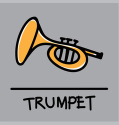 trumpet hand-drawn style vector image vector image