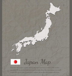 Vintage japan map paper card map silhouette vector