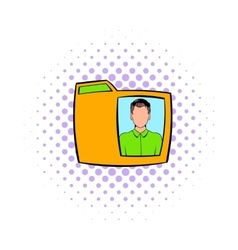 Yellow folder with male photo icon comics style vector image vector image