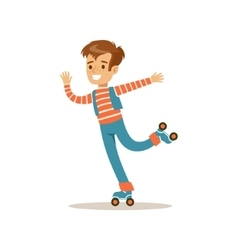 Boy roller skating traditional male kid role vector