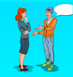 Man talking with business woman in office pop art vector
