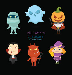 Set six hand drawn halloween characters vector