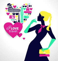 Beautiful shopping girl dreams about traveling vector image
