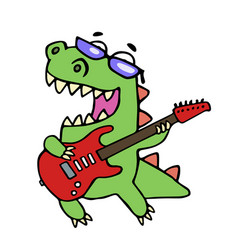 Rock star dinosaur playing the electric guitar vector