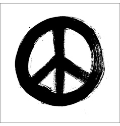 Isolated hand drawn peace symbol brush style vector