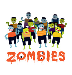 Group of zombie cartoon characters vector