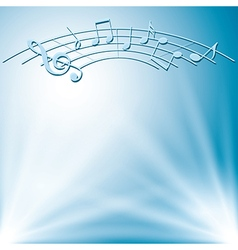 Blue background with white lights and music notes vector