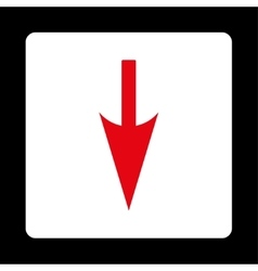 Sharp down arrow flat red and white colors rounded vector