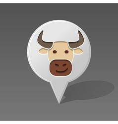 Bull pin map icon animal head vector