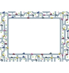 Funny frame or border with roads and cars vector image