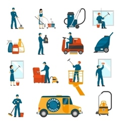 Industrial cleaning service flat icons set vector