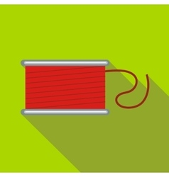 Spool of red thread icon flat style vector
