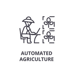 automated agriculture line icon outline sign vector image vector image
