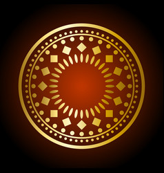 Beautiful gold ornament on dark background vector