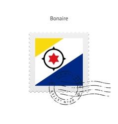 Bonaire Flag Postage Stamp vector image
