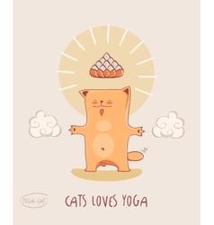 Cat loves yoga red -bodhisattva vector