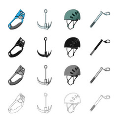 Climbing helmet clampcrampon safety wedge vector
