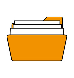 color silhouette image of opened folder with vector image