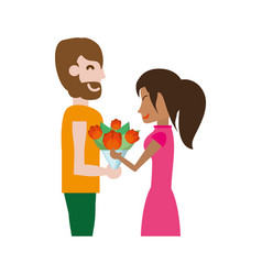 Couple romantic - man gives flower girlfriend vector