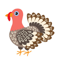 cute cartoon turkey vector image