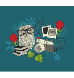 Cute owl and old photos vector