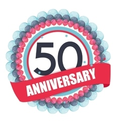 Cute Template 50 Years Anniversary with Balloons vector image vector image