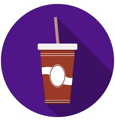 Flat design modern of drink icon with long shadow vector image vector image