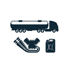 Gasoline tanker truck engine fuel canister vector