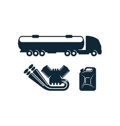 gasoline tanker truck engine fuel canister vector image