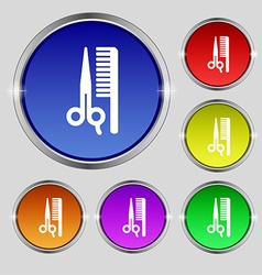 Hair icon sign round symbol on bright colourful vector