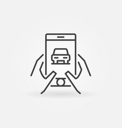 Hands holding smartphone with car icon vector