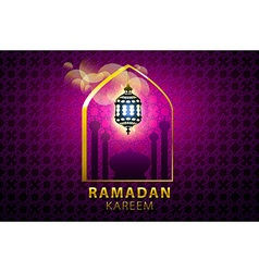 Hanging colorful Arabic lantern for holy month of vector image