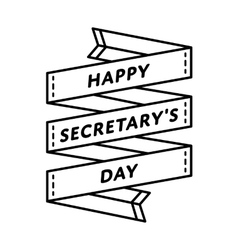 Happy secretary day greeting emblem vector