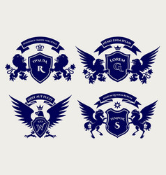 Heraldric royal crests logo set vector