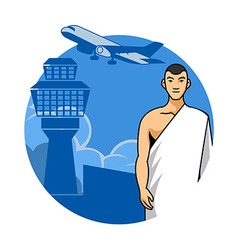 Man Hajj And Airport Background vector image vector image