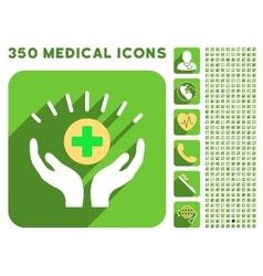 Medical prosperity icon and medical longshadow vector