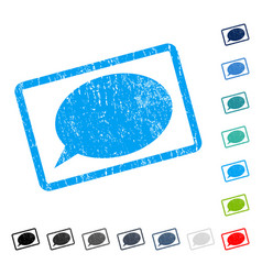 message cloud icon rubber watermark vector image vector image