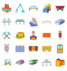 Physical labor icons set cartoon style vector