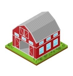 Red farm house isometric view vector
