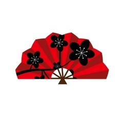 Red silk chinese fan traditional asian oriental vector image vector image