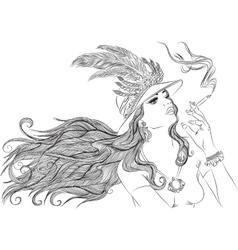 Retro girl in hat smoking cigarette outline vector image vector image