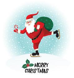 santa claus gives gifts on skates vector image vector image