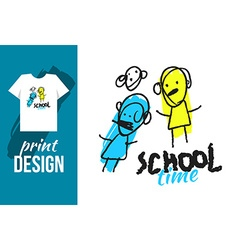 School time hand drawn with text and funny kids vector